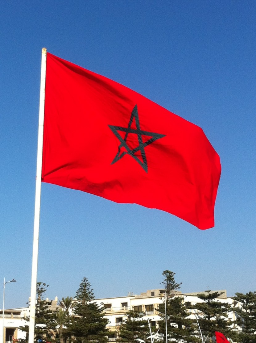 Moroccan flag standing proudly